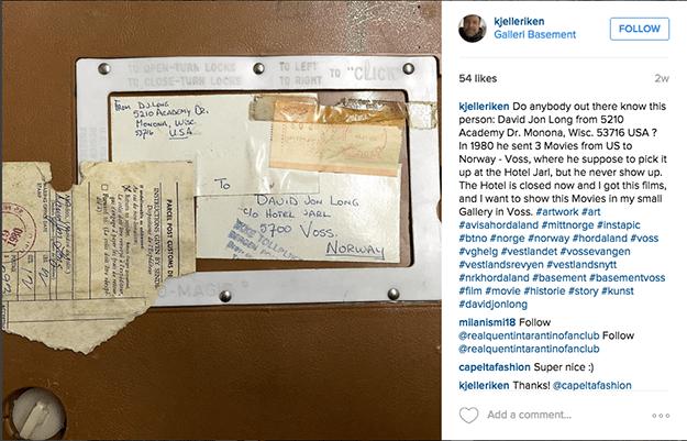 Photo: kjelleriken / instagram Voss artist Kjell-Erik Ruud searched for the long-lost owner of the films on social media, finding him just before the screening.