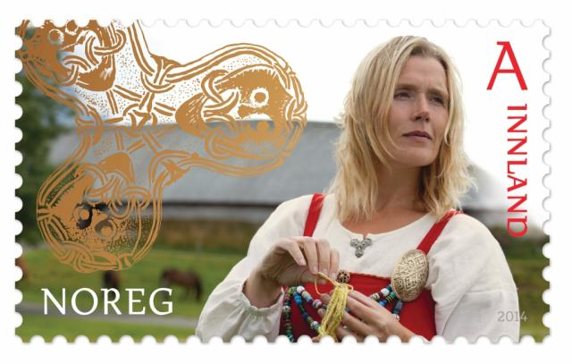 "Stamp image: Norway Post ""Handicrafts,"" domestic first-class rate."