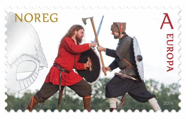 "Stamp image: Norway Post ""Battle,"" within Europe first-class rate. These stamps are part of a campaign to undo the damage the Nazis did to the Vikings' good name during WWII."