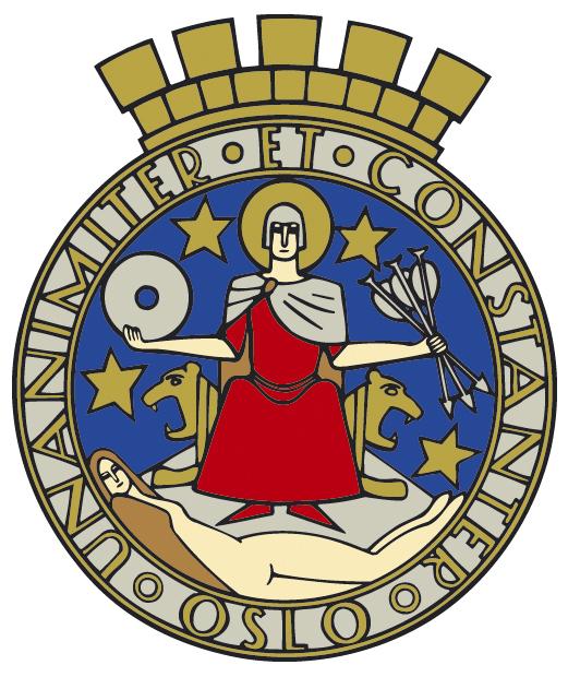 Photo courtesy of Oslo Kommune The coat of arms of Oslo, depicting patron Saint Hallvard.