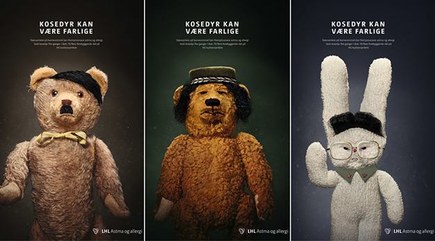 """Photo: LHL Astma og allergi / Facebook Is dust as scary as dictators? Norwegian ad campaign warns """"stuffed animals can be dangerous."""""""
