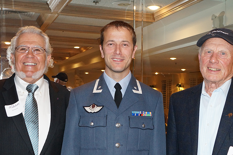 Photo: Horward O. Barikmo (From left to right) Allan Solheim, emeritus Honorary Consul for Norway; Major Morten Hanche; and John Johnsen, ex-RNAF F-84 crew chief.