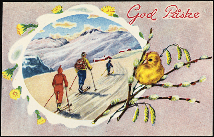 Photo: Nasjonalbiblioteket This Easter postcard from the early 1950s sums up the season—the rebirth of budding plants and a ski tour to enjoy it.