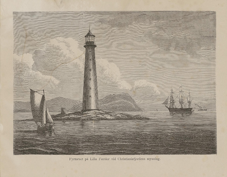 Photo: Nasjonalbiblioteket Illustration of Færder lighthouse from the book Nordiska taflor of unknown author and published by Albert Bonnier in 1868. Brooklyn's oldest Sons of Norway is named for this beacon.