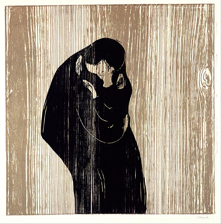 "Photo: Public Domain The vertical wood grains are highlighted in this version of Munch's ""The Kiss."""