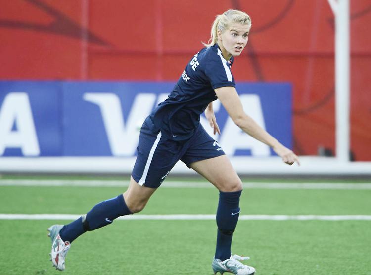 Ada Hegerberg of the Norwegian women's national soccer team in training in Ottawa in 2015.