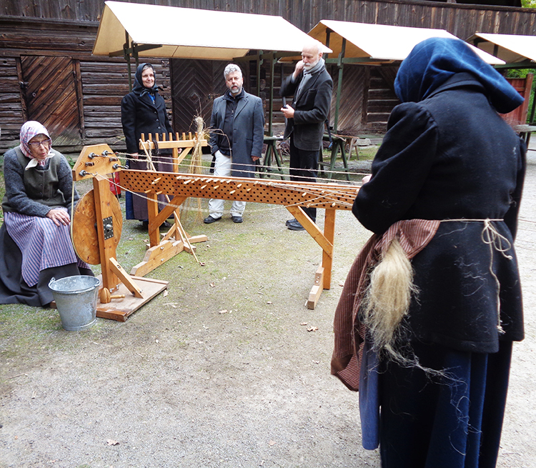 Photo: Cynthia Elyce Rubin Demonstrators at Skansen show onlookers how rope was made.