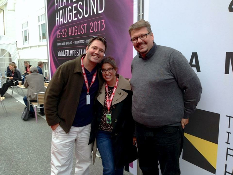 Photo courtesy of Lisa G. Black David Leader, producer (Norway); Lisa G. Black, producer (U.S.); and Trond M. K. Venaasen, writer of The Bird Catcher (Norway), at the Haugesund Film Festival in 2013.
