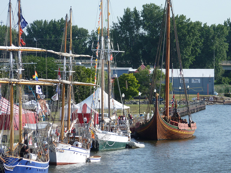 Photo: Karla Lunde Barber The Draken Harald Hårfagre is in good company at the Bay City Tall Ships Festival in Michigan.