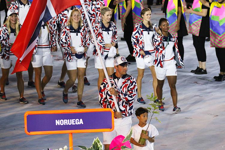 Photo: Karl Filip Singdahlsen / NIF / courtesy of Norges Idrettsforbund Ole-Kristian Bryhn leads team Norway into the Olympics in Rio.