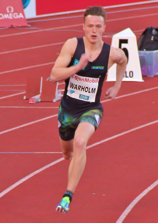 Photo: Chell Hill / Wikimedia Commons Karsten Warholm competing at the 2015 Bislett Games.