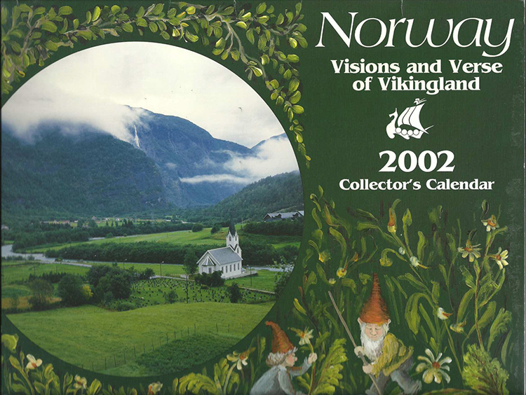 Photo courtesy of CLU Scan Center  The cover of a calendar listing Norwegian name days in 2002.