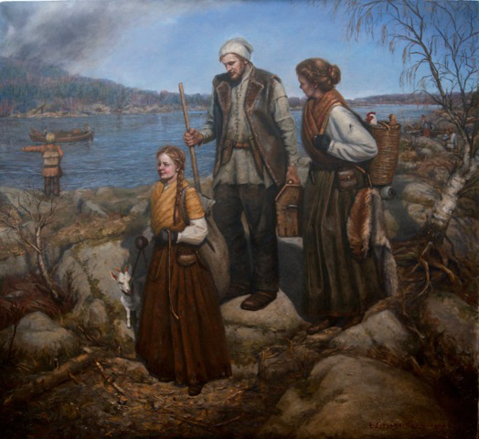 Photo courtesy of Atlier Glyllensten Stahl Of course one must not forget the 100 paintings that comprised the Pensel & Penn exhibit. Local artists using a variety of mediums celebrated Sarpsborg's history. Here Artist Elisabeth Gyllensten captured the fleeing citizenry. The Nordic Seven-Year War between Sweden and Denmark-Norway brought a demand that Sarpsborg pay a fire tax. When it could not pay, the Swedes burned down the city.