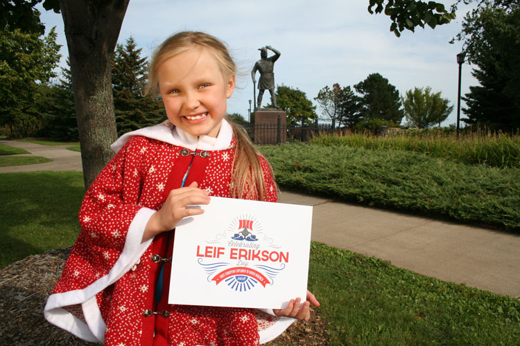 Annika Saur stands in front of the Leif Erikson statue in Duluth, Minn.Photo by Andrew Saur