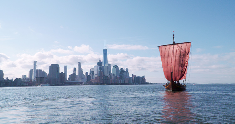 Photo: Dag Sjovold / Draken Expedition The Draken with Manhattan in the background.