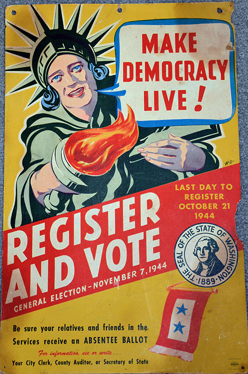 Photo: Scott Larsen An item from Scott Larsen's presidential collection: a 1944 era poster from the State of Washington.
