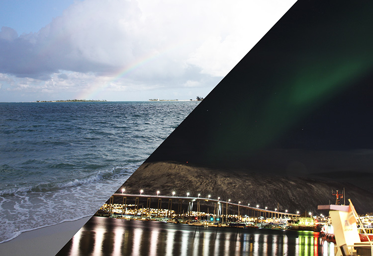 A photo sliced in half, one half showing the beaches of Belize and the other showing the coast of Tromsø