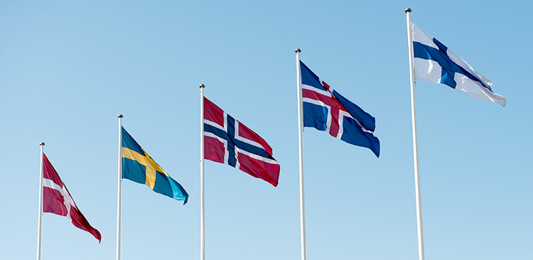 Flags of the countries who use the Nordic Model