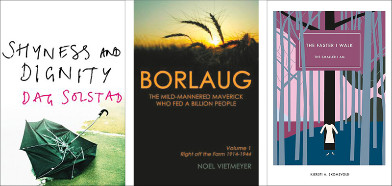 book covers for three books by Norwegian authors