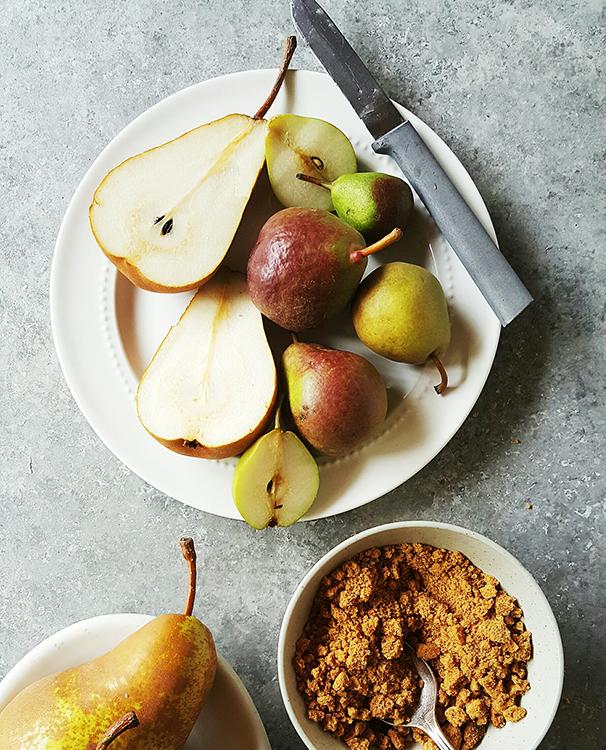 Cut-up pears.