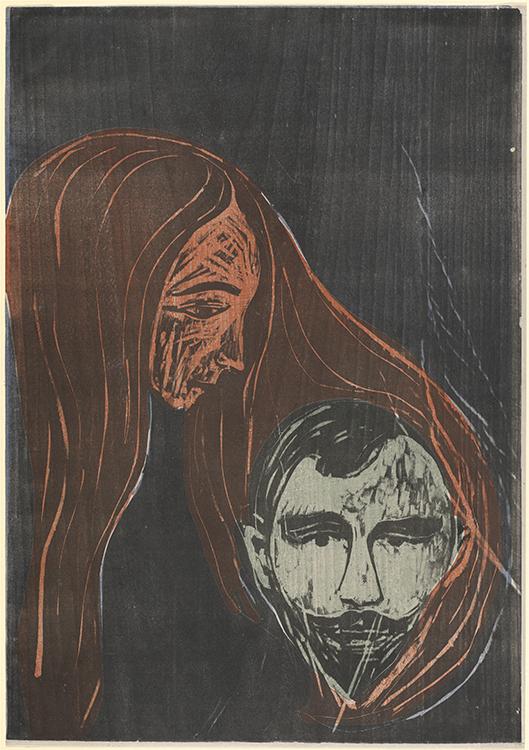 Man's Head in Woman's Hair by Edvard Munch.