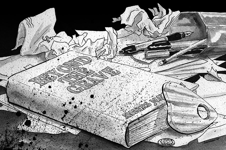 """A drawing of the """"Beyond the Grave"""" book."""