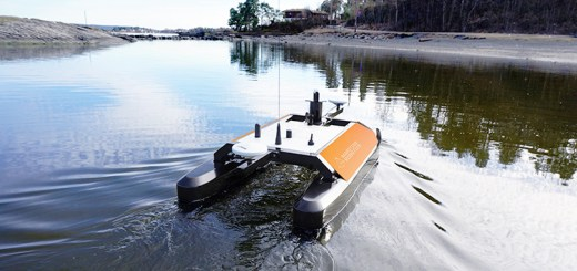 The Otter Unmanned Surface Vehicle on the water.