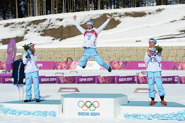 Norwegian athletes on the podium at the Olympics.