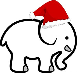 A white elephant with a santa hat on.