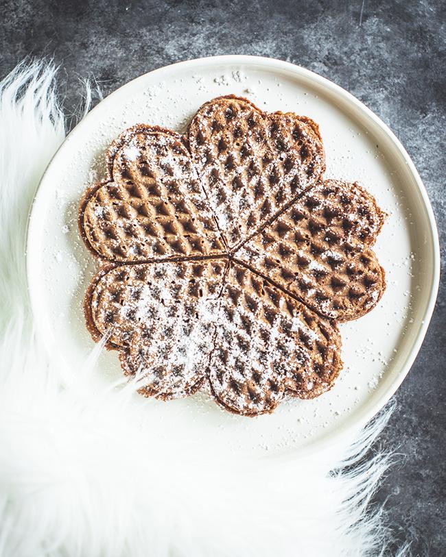 Choclate Rye Heart Waffles