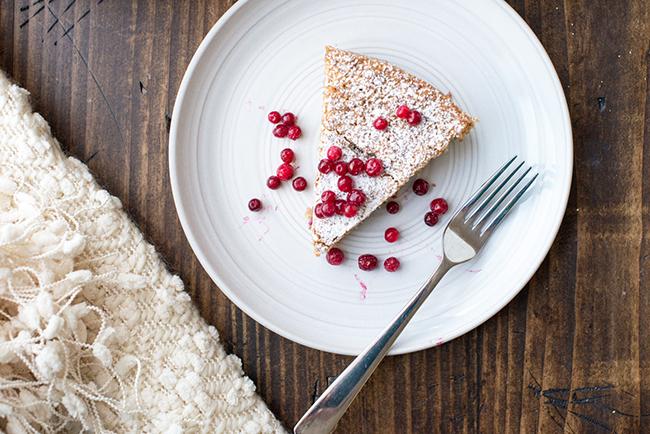 Lingonberry-Studded Almond Cake