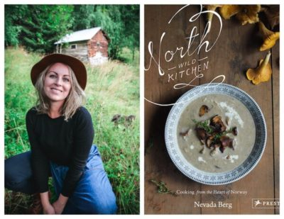Side by side photos of Nevada Berg and the cover of her cookbook North Wild Kitchen