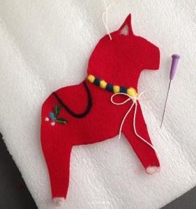 Dala horse needle felt craft