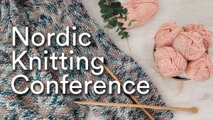 Nordic Knitting Conference banner with knitting needles and pink yarn