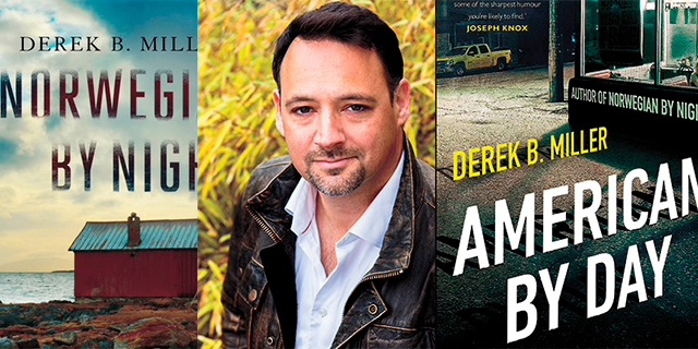 book cover for Norwegian by Night, a headshot of Derek Miller, and book cover for American by Day