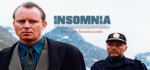 film poster for Insomnia with two men and a mountain behind them