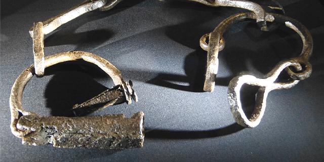 A Viking Age set of leg shackles that were used in Viking slavery raids