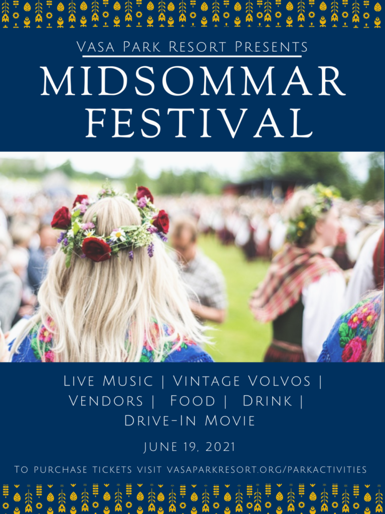 poster for Vasa Park's Midsommar Festival featuring a woman with long blond hair and flower crown