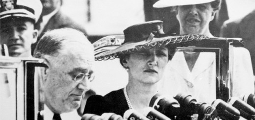 """FDR and Crown Princess Märtha during FDR's """"Look to Norway"""" speech"""