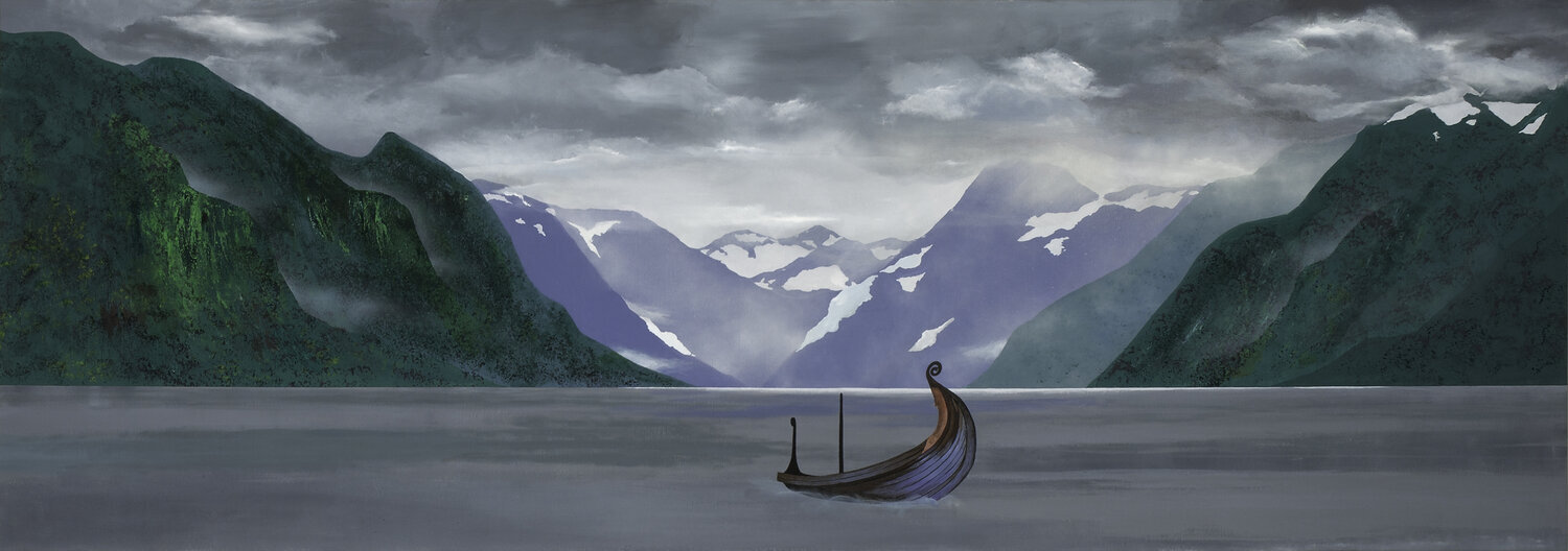 Jana Peterson's paiting of a boat in a fjord.