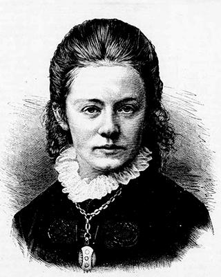 black and white xylograph of Agathe Backer Grøndahl