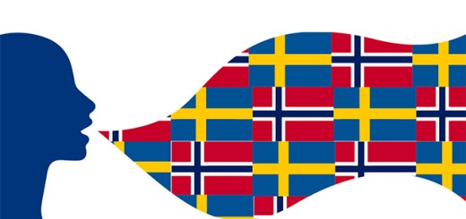 A graphic of Norwegian and Swedish flags in a speech bubble representing Swedish and Norwegian words