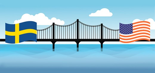 graphic of a cultural bridge between Sweden and America