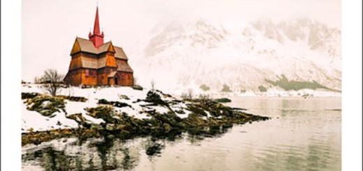 a stave church covered snow