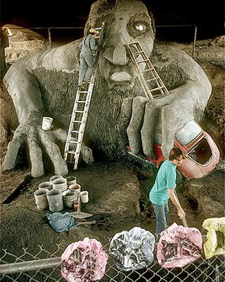 Fremont Troll under construction