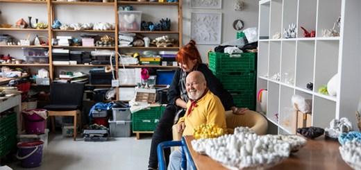 Painter Rolf Monsen and ceramic artist Kari Aasen in their studio at USF Verftet