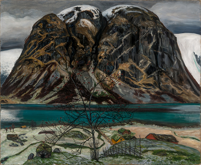 a painting of a mountain and a teal lake by Nikolai Astrup