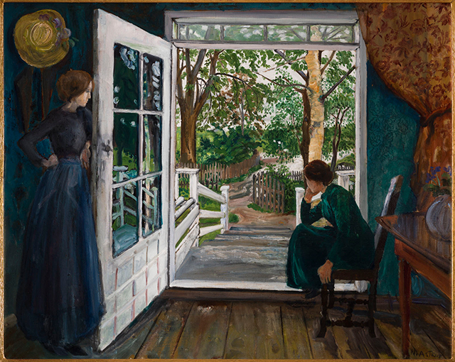 a painting of two girls looking at an open door by Nikolai Astrup