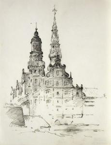 a pencil drawing of a cathedral