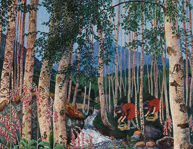 a painting of a forest by Nikolai Astrup